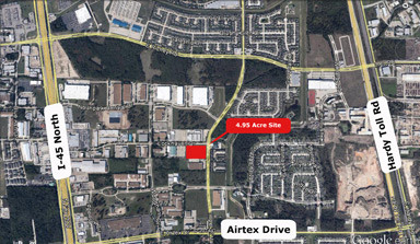 AVAILABLE FOR DEVELOPMENT: 4.95 Acre Site at Southwest Corner of Imperial Valley Drive and Lockhaven Drive, Houston, Texas