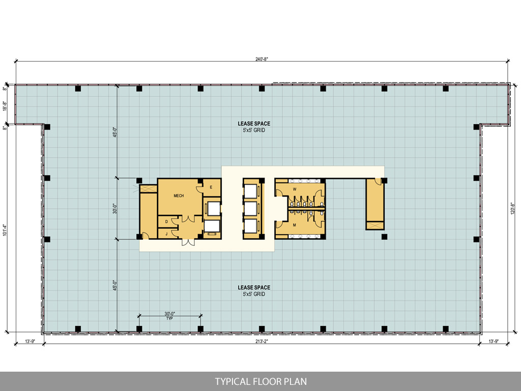 Ten story west belt office for Typical office floor plan